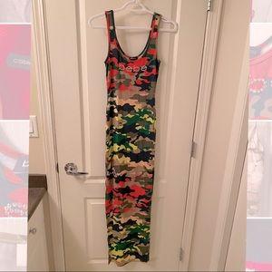 Bebe maxi dress camo colour print
